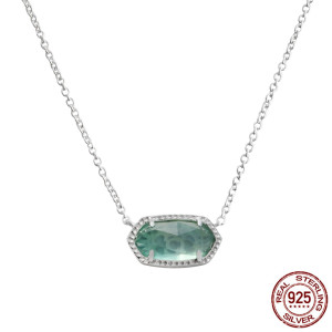 S925 Серебряное ожерелье Elisa в стиле Кендры Скотт с зеленым агатом GM5007 0.8 * 1.5см Размер кулона