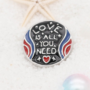 20MM love snap button Plateado con esmalte KC5720 snap jewelry