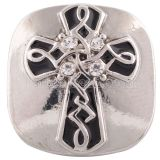 20MM cross snap silver plated with white Rhinestone and black Enamel KC5469 snaps jewelry