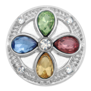 20MM design snap Silver Plated with colorful rhinestone KC7995 Multicolor