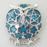 20MM Сова оснастки посеребренная с голубым стразами KB8661 оснастки ювелирные изделия