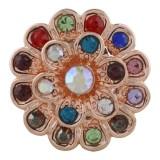 Flor 20MM Chapado en oro rosa con diamantes de imitación de colores KC7535 Multicolor