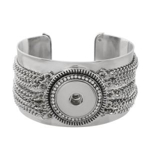 snaps sliver adjustable bracelet with rhinestone fit 18&20MM snaps chunks