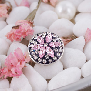 snaps button with pink rhinestone and resinestone KC2861 snaps jewelry