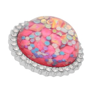 25MM Hand-made Thick glossy round Amber snap Silver Plated with Rhinestone KC7960 Pink