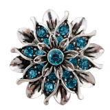 20MM Flor de plata chapada con diamantes de imitación azules KC7659 se ajusta a presión