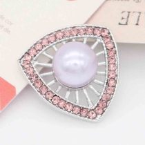 20MM purple pearl snap silver Plated with pink Rhinestones KC7868 snaps jewerly