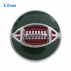 12mm Football snaps Silver Plated with green Enamel KS5053-S snap jewelry