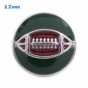 Broches de fútbol 12mm Plateados con esmalte verde KS5053-S joyería rápida