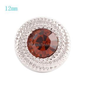 12MM Broche redondo plateado con diamantes de imitación rojos opacos KS6039-S broches de joyería