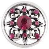 Diseño 20MM complemento Chapado en plata antigua con diamantes de imitación rosa-rojo KC8729 broches de joyería