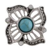 20MM Broche de flores chapado en plata antigua con turquesa cian y diamantes de imitación DS5006 joyería de broches intercambiables