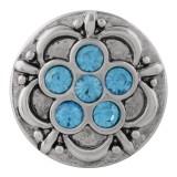 Broche de flores 20MM plateado con diamantes de imitación azules KC7638 joyería de broche