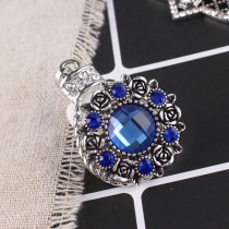 20MM flower snap Antique Silver Plated with dark blue Section glass KB8918 snaps jewelry