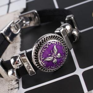 20MM Butterfly snap Plateado plata antigua con esmalte púrpura KB7851 broches de joyería