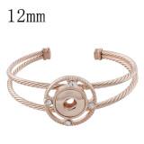 Botones 1 pulsera de oro rosa con ajuste de diamantes de imitación 12MM broches de joyería KS1197-S
