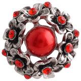 Broche de flores 20MM Plateado antiguo Plateado con diamantes de imitación rojos y perlas KC7335 broches de joyería