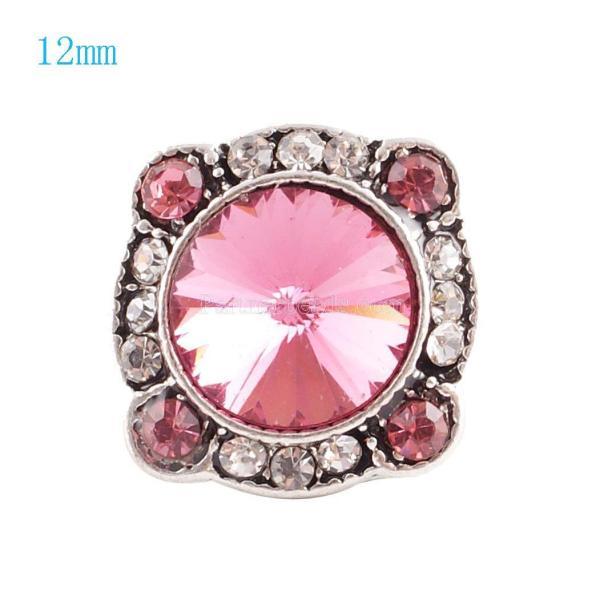 12MM Broche irregular plateado con diamantes de imitación rosa KS6057-S broches de joyería