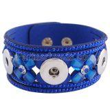 Pulseras de cuero azul 8.66inch de Partnerbeads para 18 / 20MM broches de presión KC0251 broches de joyería
