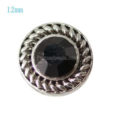 12MM Round snap Antique Silver Plated with black rhinestone KB7271-S snaps jewelry