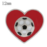 Astilla de fútbol 12MM plateada con esmalte rojo KS6359-S joyería rápida