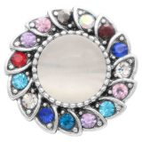 20MM design snap silver Plated with colorful Rhinestones Cat's eye is embedded in the middle KC7827 snaps jewerly