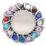 Diseño 20MM de plata chapada con diamantes de imitación coloridos El ojo de gato está incrustado en el centro KC7827 se ajusta a la joyería