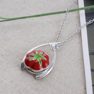 Broche de tomate 20MM plateado con esmalte rojo KC5586 broches de joyería