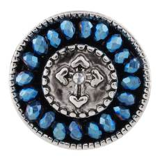 20MM cross snap button Antique Silver Plated with dark blue small beads KC9725 snap jewelry