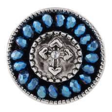 Bouton à croix 20MM Plaqué Argent Antique avec petites perles bleu foncé KC9725 Snap Jewelry