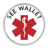 20MM Medical Alert siehe Brieftasche Snap Glas C1122 austauschbar rot