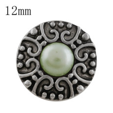 12MM Round snap Antique Silver Plated with green bead KS5197-S snaps jewelry