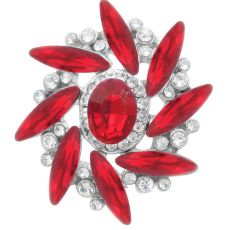 20MM design snap Silver Plated with red rhinestone KC7981 snaps jewelry