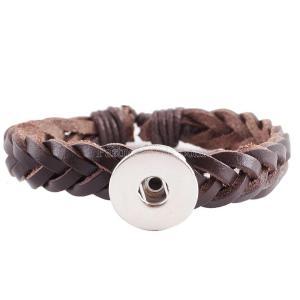 Пуговицы 1 Коричневые кожаные плетения KC0234 браслеты нового типа подходят с кусочками 20mm с защелками