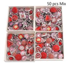 50pcs / lot Boutons instantanés 20mm Mix Rouge, rose, rose couleurs mixmix
