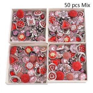 50pcs / lot Druckknöpfe 20mm mischen rote, rosafarbene, rosafarbene mixmix Farben