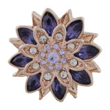 Diseño 20MM Chapado en oro rosa con diamantes de imitación morados KC5649 broches de joyería