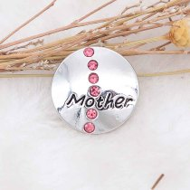 20MM mother snap silver Plated with rose-red Rhinestone  KC9090 snaps jewerly