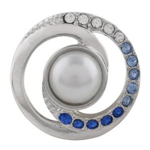 Astilla de diseño 20MM plateada con diamantes de imitación y perlas KC5696 broches de joyería