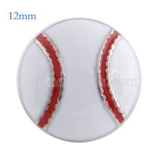 12MM baseball snap Antique Silver Plated with white enamel KS6086-S snaps jewelry