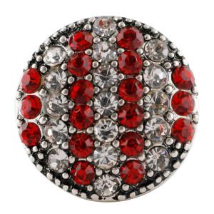 Broche redondo 20MM Plateado antiguo Plateado con diamantes de imitación rojos KC7676 se ajusta a presión