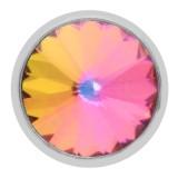 Diseño 20MM plateado plateado con diamantes de imitación multicolor KC6961 broches de joyería