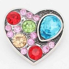 20MM snap Love sliver Plaqué de strass colorés KC6729 s'encliquette des bijoux