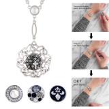 Collar de alta calidad con cadena 80CM con diamantes de imitación y perlas KC1027 fit 18mm trozos broches de joyería
