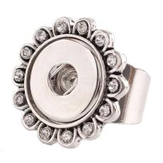 18MM 8# snaps adjustable metal Ring with rhinestone KC0917 snaps jewelry
