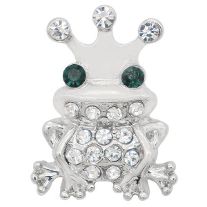 20MM Frog snap Silver Plated with white rhinestone KC7994 snaps jewelry