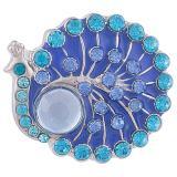 20MM Peacock Snap Antik Silber Überzogen mit blauem Strass KB8043