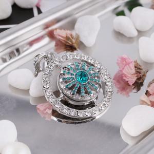 20MM bouton pression de fleur argenté avec ciel strass cyan KB5299 s'enclenche bijoux