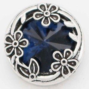 Diseño 20MM chapado en plata con diamantes de imitación azul oscuro KC6734 broches de joyería