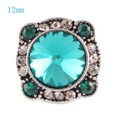12MM Irregular snap Silver Plated with deep Cyan and clear rhinestone KS6054-S snaps jewelry